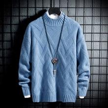 YUECHEN Autumn And Winter Mens New Youth Soft Half-high Collar Solid Color Slim Sweater Acrylic Diamond Lattice M-3XL
