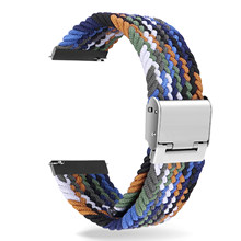 Comprimento ajustável trançado náilon pulseira elástica para samsung s1 s3 s3 smartwatch 20/22mm esporte pulseira de loop solo