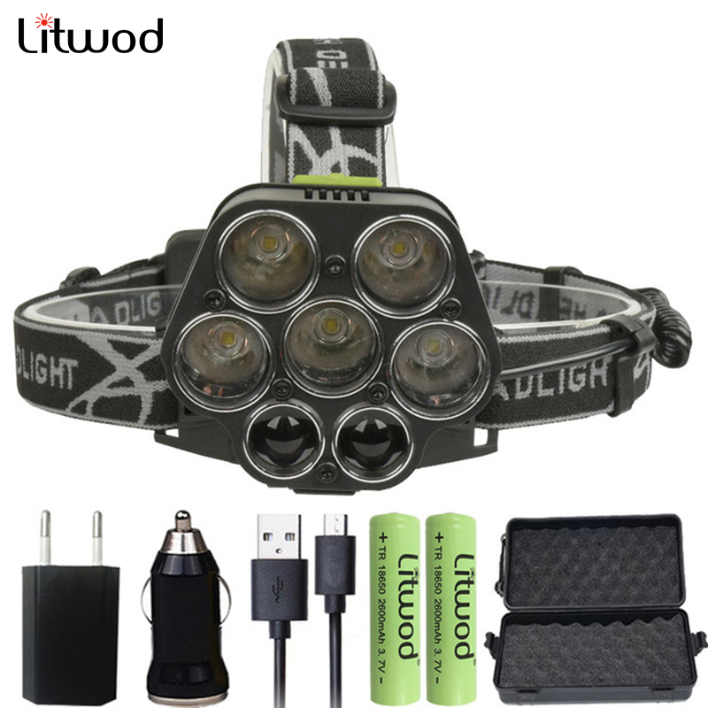 Z202507 Litwod Led Headlamp 25000LM 5*T6 + 2*XPE Head Lamp Micro USB Charger Headlight Portable Light Torch Lantern For Fishing