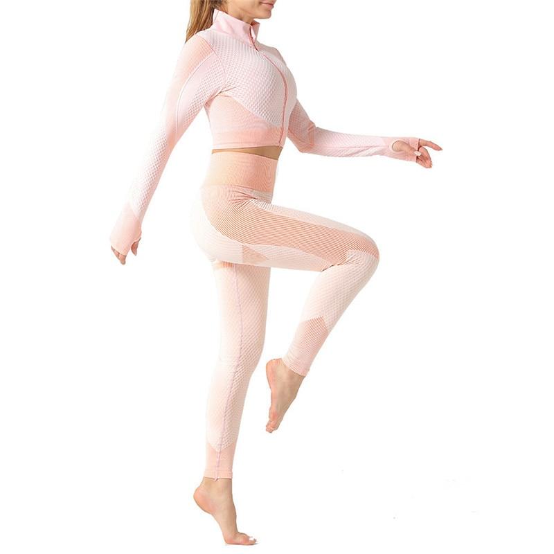 2/3Pcs Seamless Yoga Set Gym Fitness Clothing Women Yoga Suit Sportswear Female Workout Leggings Top Sport Clothes Training Suit 4