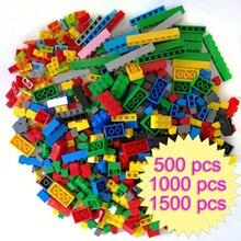Juego de bloques de construcción de plástico para niños. 500, 1000, 1500 piezas, creativo, clásico, bloques de construcción, creador, piezas básicas, juguetes para niños