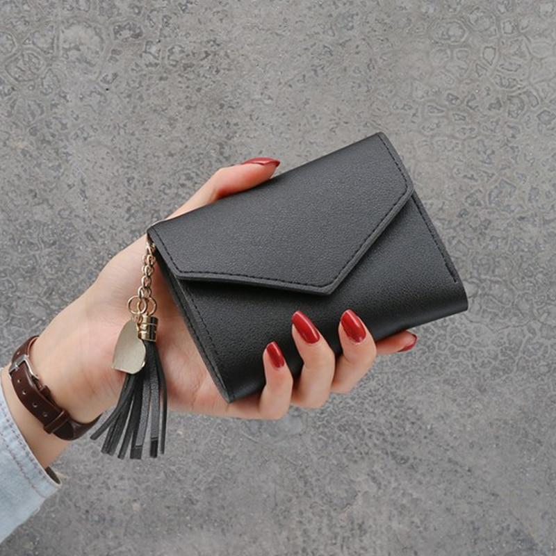 Новинка, маленький кошелек для денег, Женский Повседневный однотонный кошелек, Модный женский короткий Мини Универсальный корейский студенческий маленький кошелек - Цвет: New-Black