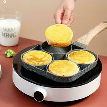 4 Hole Fried Egg Burger Pan Cookware Non-stick Ham Pancake Maker Wooden Handle Suitable for Gas Stove and Induction Cooker