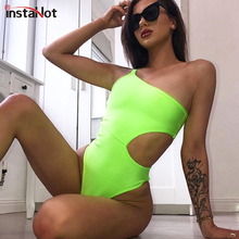 InstaHot Green Hollow Out Bodysuit Spaghetti Strap One Sleeve Backless Sleeveless Sexy Romper Women Fashion Skinny Casual Body
