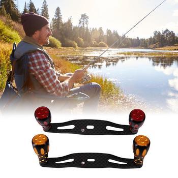 Fishing Reel Rocker Arm Refitting Knob Accessories Luya Wheel Diy Metal Carbon Rocker Arm Double Color Golden Handle
