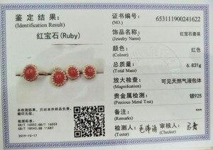 Image 5 - MeiBaPJ טבעי מיאנמר רובי חן 925 טהור כסף עגילי טבעת תליון שרשרת 3 חליפות בסדר למסיבת נשים