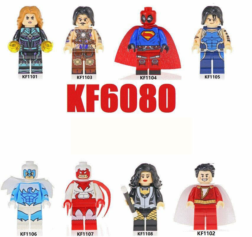 <font><b>KF6080</b></font> 8Pcs Marvel Super Heroes Shazam Anton Vanko Deadpool Tempest Dove Hawk Zatanna Building Blocks Figures For Children Toys image