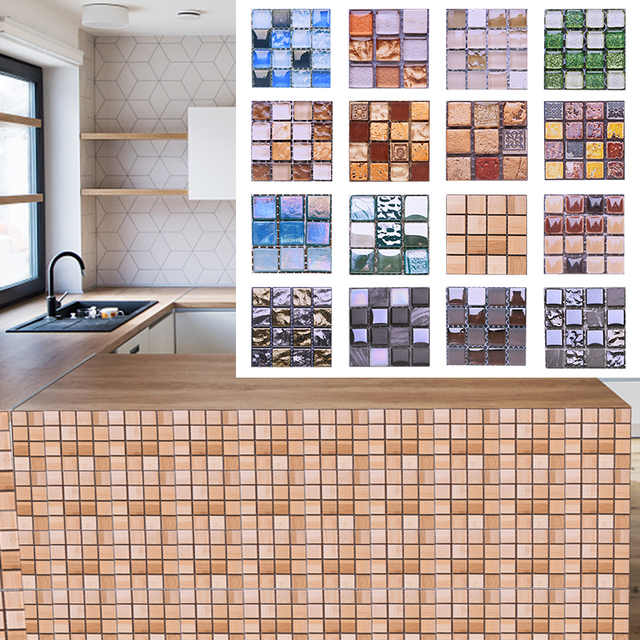 10pcs 10*10CM Mosaic Waterproof Wall Stickers Simulation Tiles Self Adhesive Wall Stickers DIY Home Bathroom Kitchen Decorations 3
