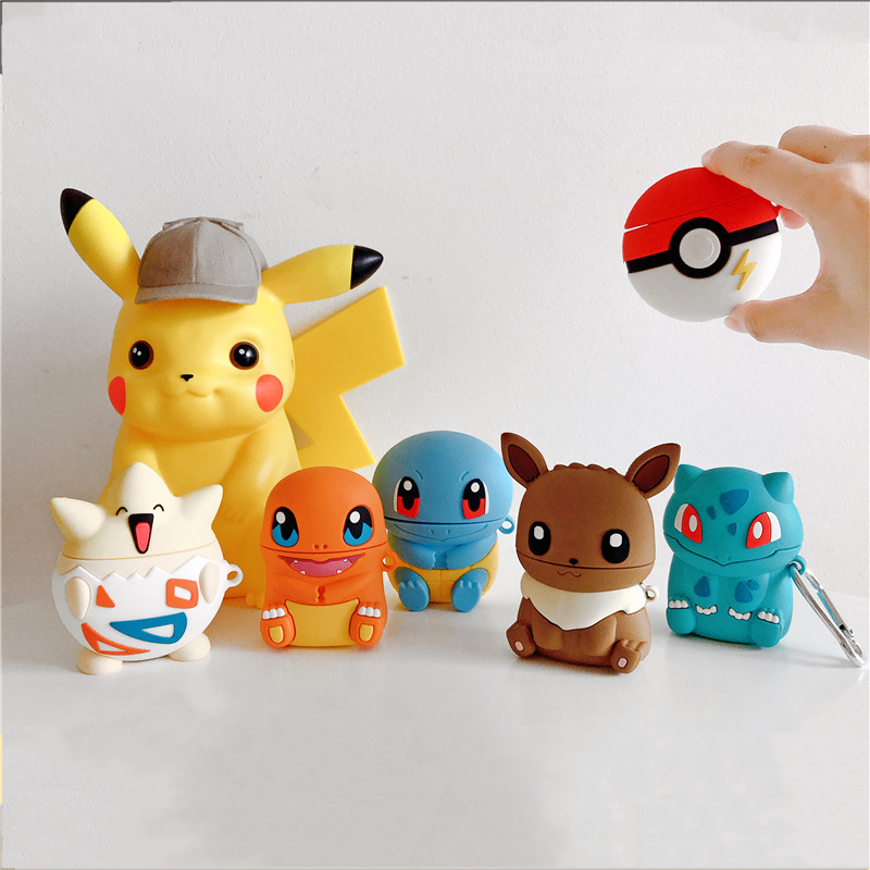 Bluetooth Earphone Case For Airpods Cute Silicone Protective Cover For Airpods 2 Accessories Keychain Stereoscopic Charmander