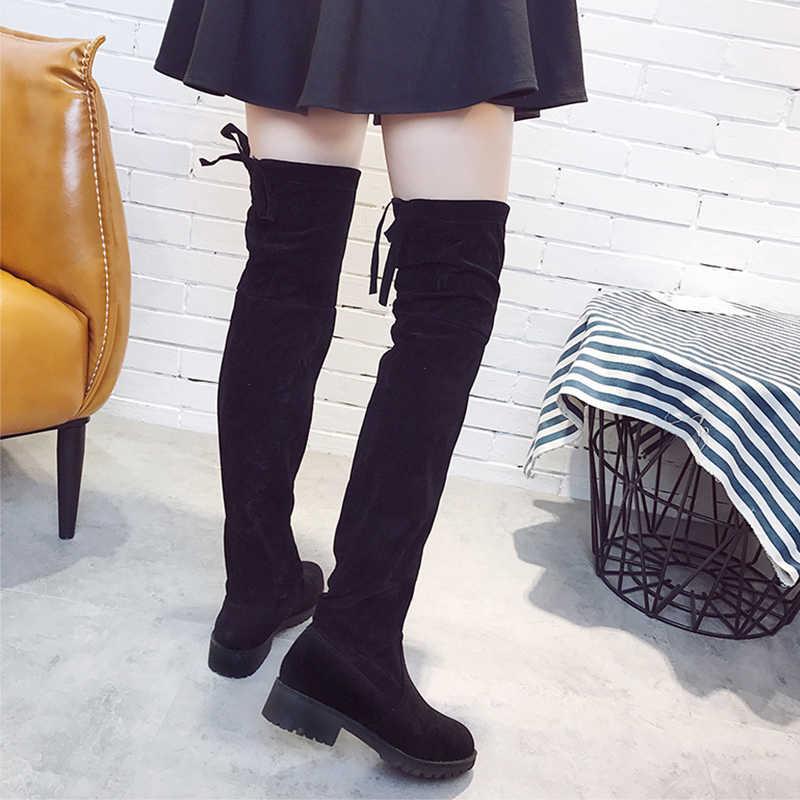 เข่ารองเท้าผู้หญิงเซ็กซี่ต้นขาสูงรองเท้าผู้หญิง Winter Boots 2019 แฟชั่นรองเท้าสั้นรองเท้าบูทสุภาพสตรี