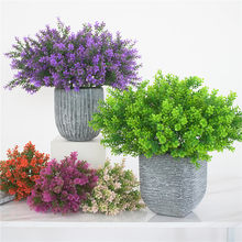 Home Garden Decoration Flower Arrangement Artificial Bouquet Plastic 6 Branches Foliage Grass Fake Green Plant(China)