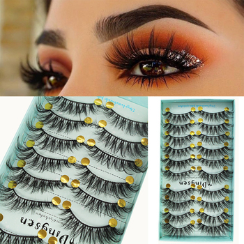 10 Pairs 3D Soft Faux Mink Hair False Eyelashes Natural Messy Eyelash Wispy Fluffy Crisscross Eye Lashes Extension Makeup Tools