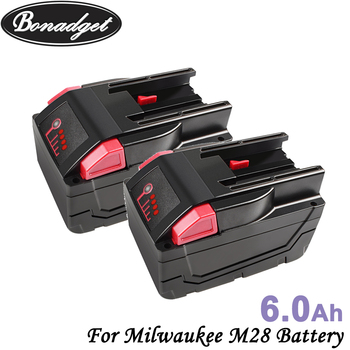 Bonadget Replacement 28V 6000mAh Li-Ion Battery For Milwaukee M28 48-11-2830 0779-20 48112850 Battery Chargeable Tools Battery