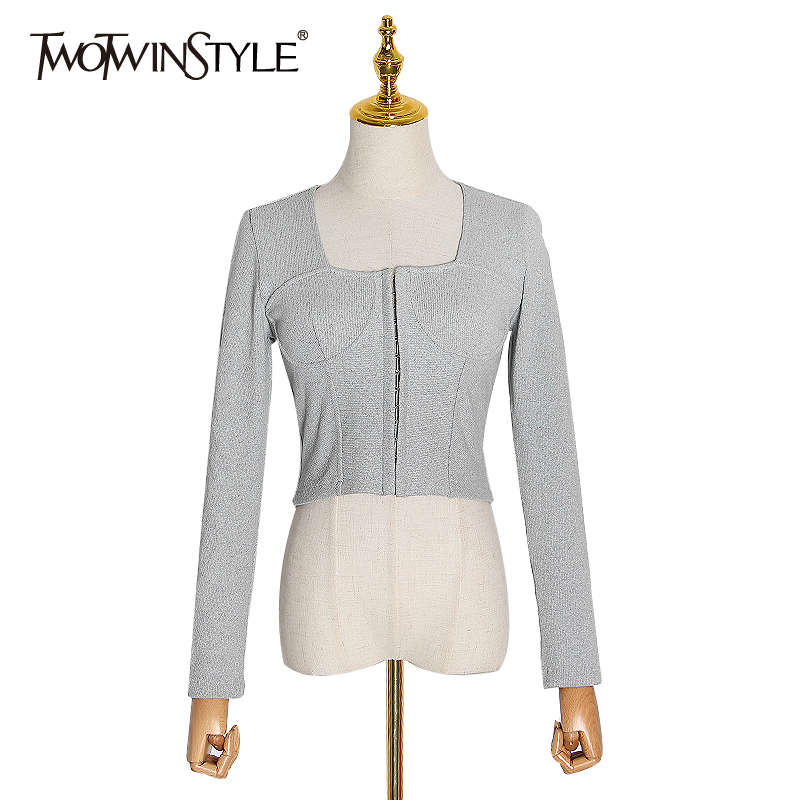 TWOTWINSTYLE Sexy Patchwork Sweater Women Square Collar Long Sleeve Short Knitting Sweaters Female 2020 Spring Clothing Fashion