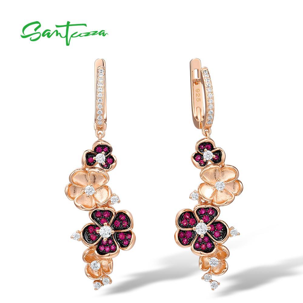 SANTUZZA Silver Earrings For Women 925 Sterling Silver Flower Rose Color Shiny Created Ruby White CZ Earrings Party Fine Jewelry