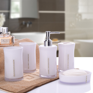 Image 5 - 5 Pcs Set Soap Box Lotion Bottle toothbrush holder Cup Bathroom Wash Set Modern Wash Accessories Acrylic Bathroom Supplies 0908A