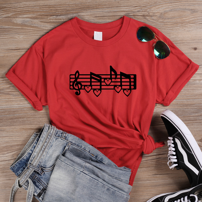 ONSEME Music Note tshirt <font><b>Graphic</b></font> <font><b>Tees</b></font> <font><b>Women</b></font> clothes <font><b>2019</b></font> Love music love life korean clothes Summer Cotton Tops for Girls Q-919 image