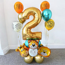 18 pièces Jungle Animal ensemble de ballons 32 pouces numéro ballon Jungle Safari thème enfants 1 2 3 4 5 6 7 8 9 ans fête d'anniversaire décor