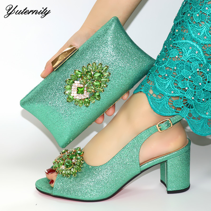 Italian Green Color Shoes And Bags Set For Evening Party African Summer Pumps Shoes And Matching Bag Set For Church Dress - 1