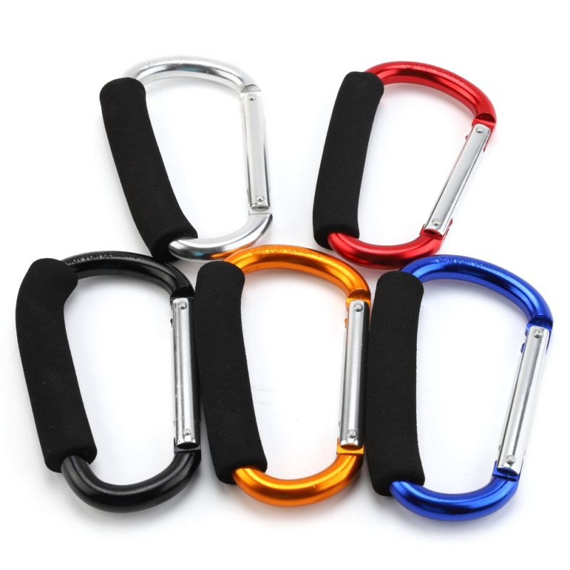 Big D Shape Carabiner Aluminum Alloy Soft Handle Shopping Key Hook Outdoor Camping Hook Keychain Carabiner Clip