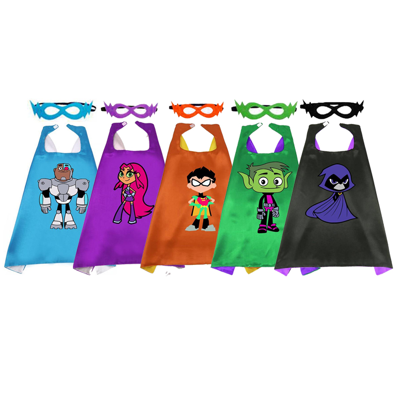 Halloween Superhero Capes With Mask Two Colored Child Cape Birthday Party Favor Satin Solid Cloak Boys Girls Satin Cape