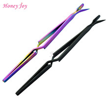 3 Way Black Regenboog Kleuren Manicure Pedicure C-curve Knijpen Tool Cuticle Pusher Nail Art Pincher voor Acryl UV gel Nagels(China)