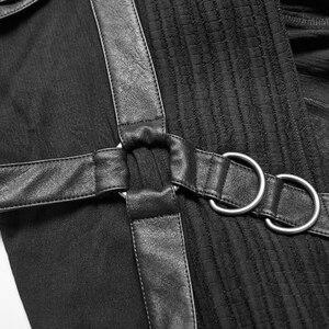 Image 5 - PUNK RAVE Mens Punk Retro Dark Japanese Long Jacket Stripe Metal Buckle Decoration Large Sleeves Loose Hooded Trench Coat