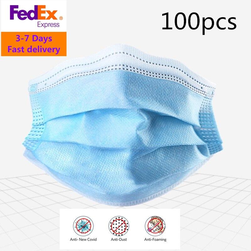 FedEx Доставка 100/200/500/1000/5000/10000 шт 3 слойная  противопыльная одноразовая Ушная маска для рта Антивирусная маскаМаски    -