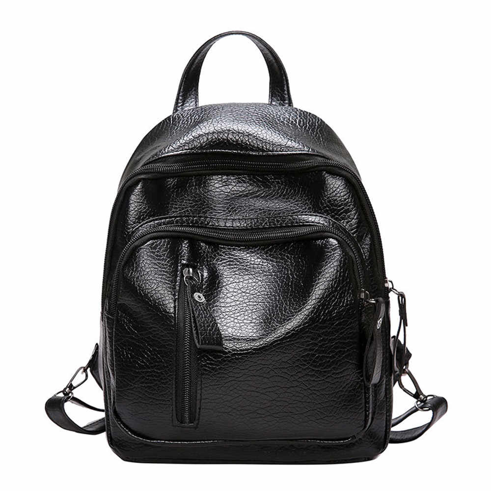 Backpack PU Shoulder Bag For Women Teenage Girls Multi-Function Small School Backpack For Female Mochila Mujer Femininas#25