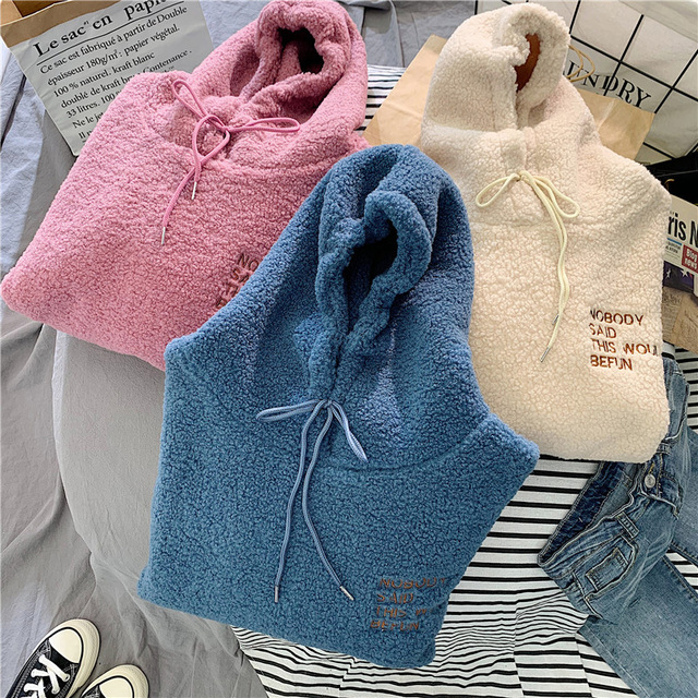 Autumn Winter Coat Pink Sweet Hooded Sorry Print Harajuku Loose Pocket Hoodies Womens Fleece Flannel Pullover Female Sweatshirt 5