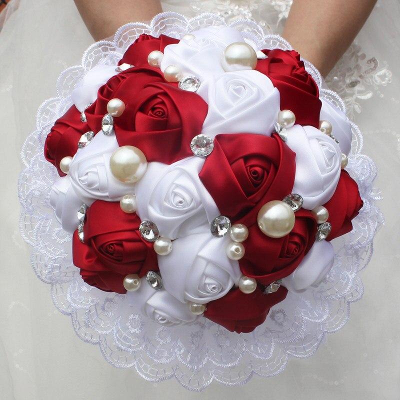 Sutra Mawar Mutiara Bermanik Manik Anggur Merah Bunga Pernikahan