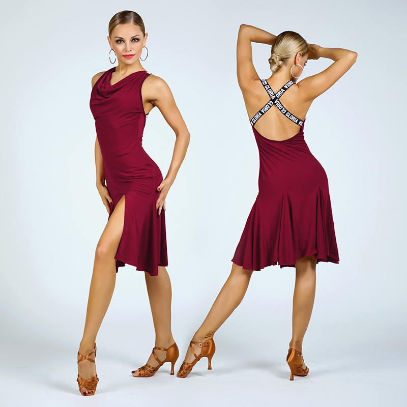 Fashion Latin Performance Dance Dresses Women'S Sexy Sleeveless Cross Strap Dress Ballroom Dancing Costumes Danse Latine DL5198