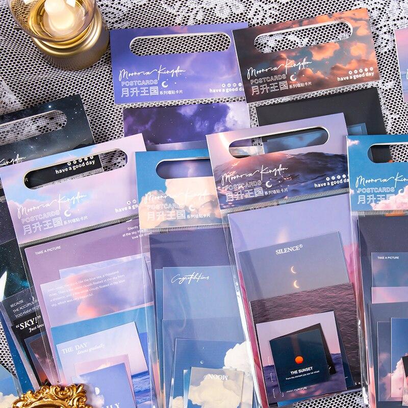 Yoofun 8 wzorów podkładki Memo Pack chmury zachód słońca Galaxy luźne liście notatki ścienne Bullet Journaling Scrapbooking To zrobić List