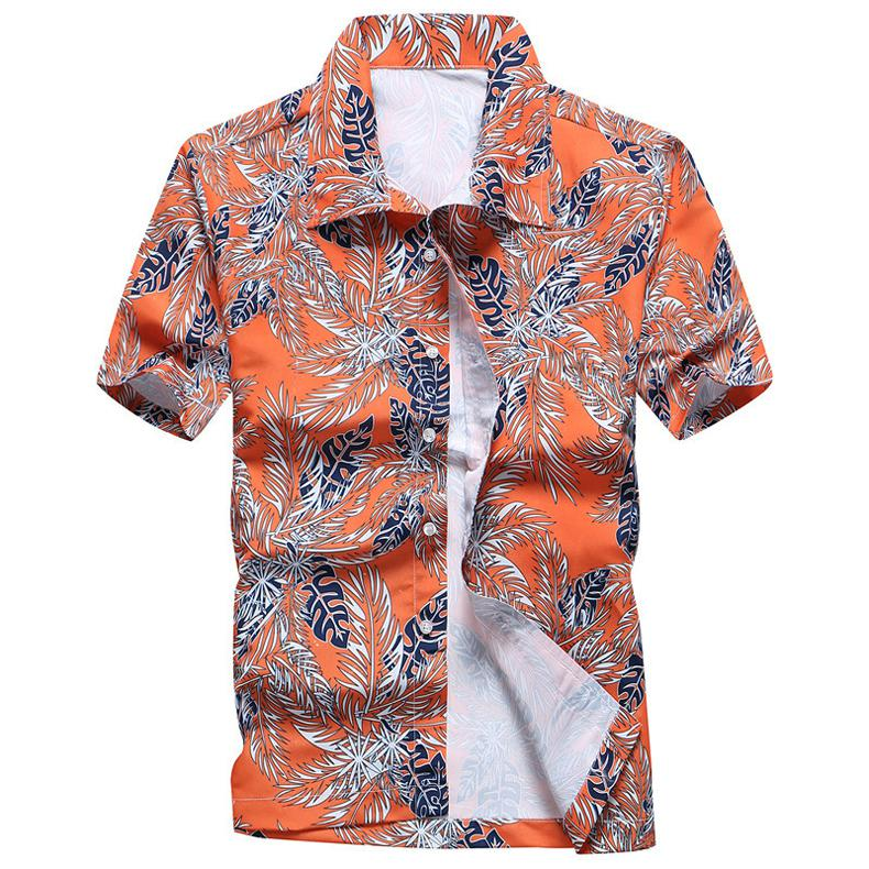 Fashion Mens Hawaiian Shirt Male Casual Colorful Printed Beach Aloha Shirts Short Sleeve Plus Size 5XL Camisa Hawaiana Hombre 15