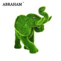 Large Moss Ainimal Green Grass Artificial Moss Graft Flocking Elephant Fake Ainimals Statue Handmade Flower Beast For Home Decor
