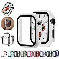 Capa para apple watch 5/4 40/44mm  proteção para pc com película protetora de vidro para iwatch acessórios da série 3/2 38 42mm