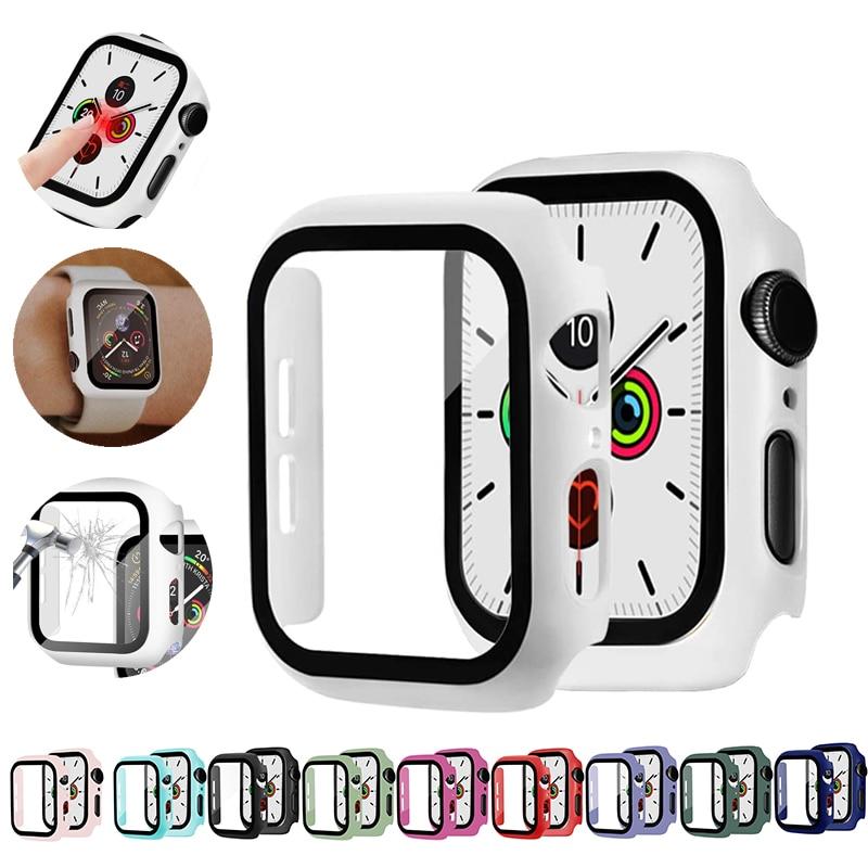 Vidro + caso para apple assistir serie 6 5 4 3 se 44mm 40mm iwatch caso 42mm 38mm protetor de tela abundante + capa apple assista accessorie