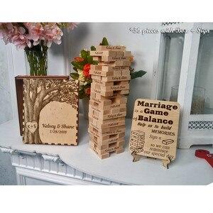 Livre d'or personnalisé avec noms Jengo   Cadeau alternatif, pour jeu de société Jengo, livre d'or de mariage, cadeau personnalisé
