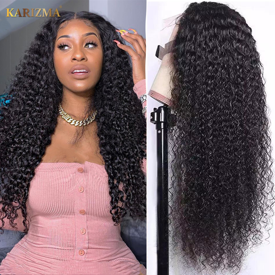 Curly Human Hair Wig 180% Density Afro Kinky Curly Lace Front Wig 13X6 Human Hair Wigs Transparent Lace Frontal Wig For Women