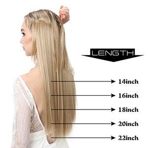 Image 2 - SARLA Halo שיער הארכת אין קליפ בלתי נראה חוט סינטטי Ombre טבעי מזויף ארוך ישר שווא פיסת שיער פאה לנשים