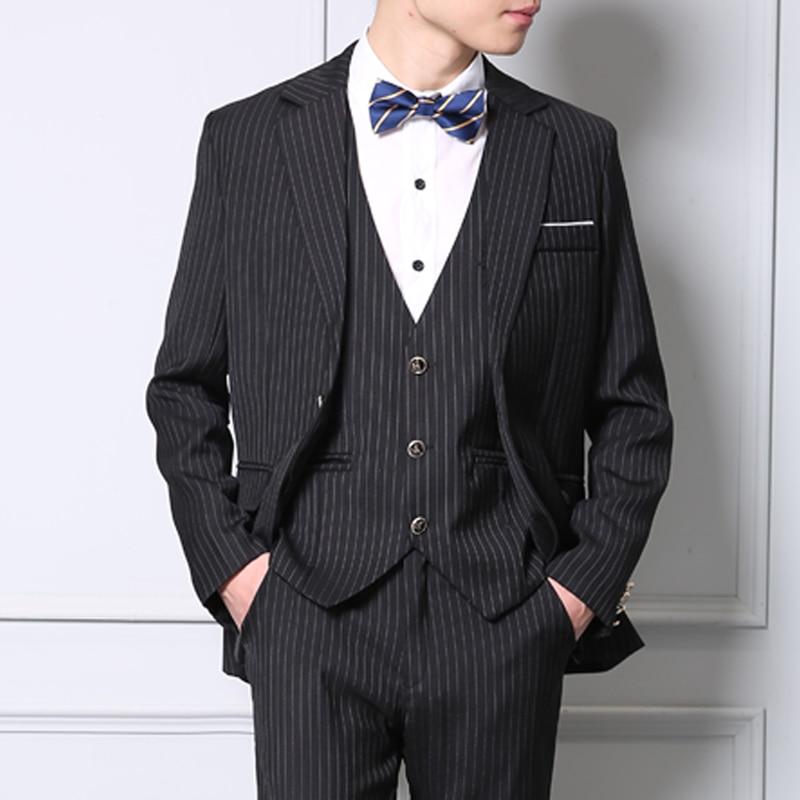 3 Pieces Set Mens Suits Stripe Slim Fit Wedding Suits Groom Tuxedos Formal Business Casual Work Wear Suits (Blazer+Pants+Vest)