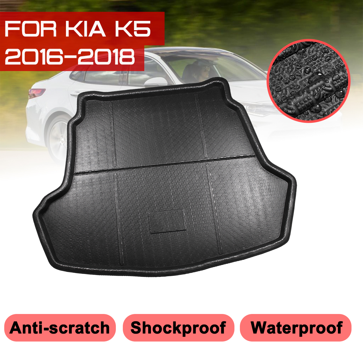 Car Rear Trunk Boot Mat For KIA K5 2016 2017 2018 Waterproof Floor Mats Carpet Anti Mud Tray Cargo Liner   - title=