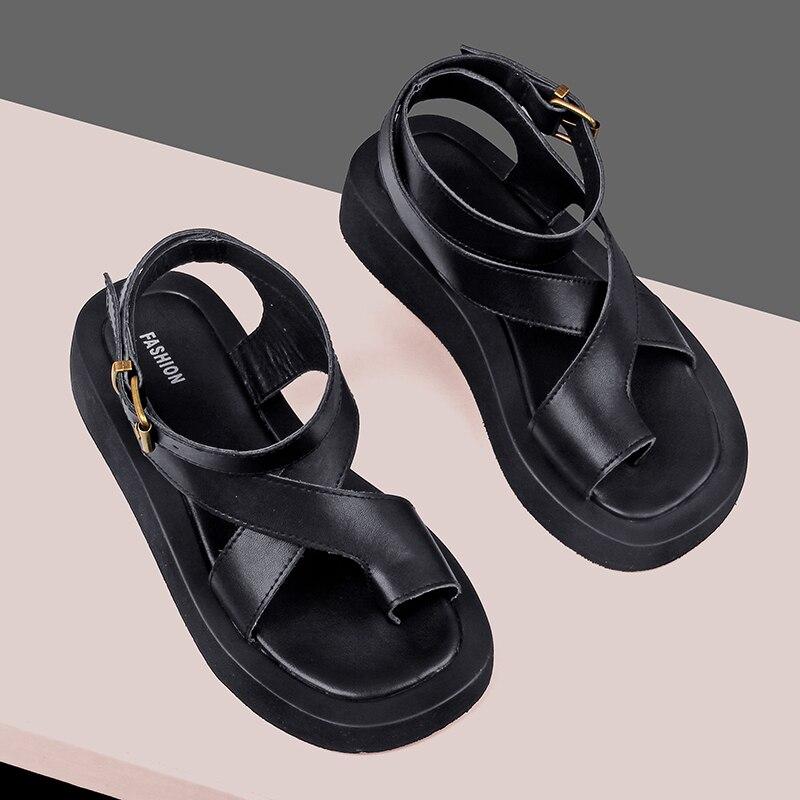 AIYUQI Sandals Women Genuine Leather 2021 Summer New Clip Toe Sandals Ladies Roman Women Shoes Muffin Sandals