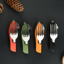 Damask One-piece Detachable Structure Outdoor Tableware With Knife Spoon Fork Bottle Opener 4 Colors Portable Kitchen Tools(China)