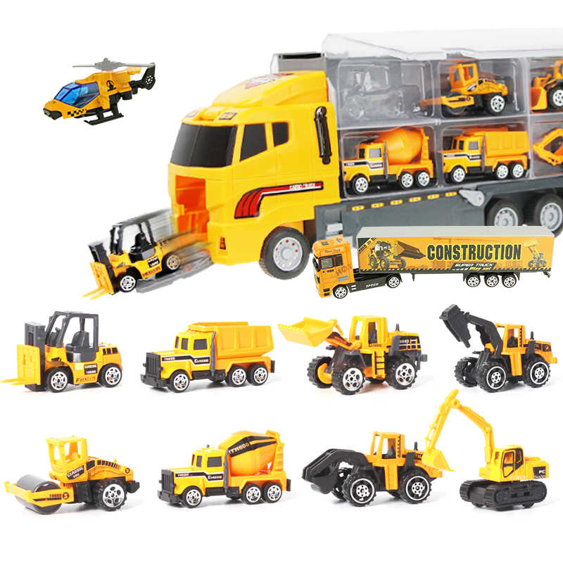 12pcs/set Mini Diecast Alloy Car 2in1 Model Engineering Toy Vehicles Carrier Truck with Ejection & Carry Function Xmas Gift