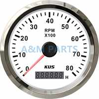 KUS Marine Tachometer Gauge LED Hourmeter Boat RPM Tachometer 12V/24V 8000RPM