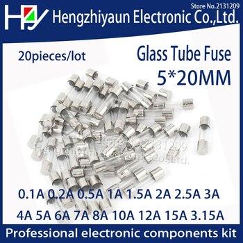 цена на Hzy 20pcs/lot Glass Tube Fuse 5x20mm 0.1A 0.2A 0.5A 1A  2A 2.5A 3A 3.15A 4A 5A 6A 7A 8A 10A 12A 15A /250V Fast Quick Blow Fuses