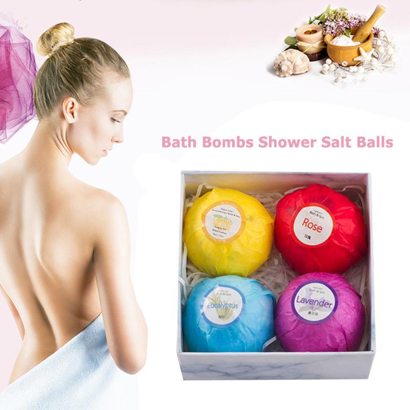 4pcs Natural Bubble Bath Salt Ball Lightness And Portability No Space Occupy Bomb Whiten Moisturize Exfoliating Soap Gifts