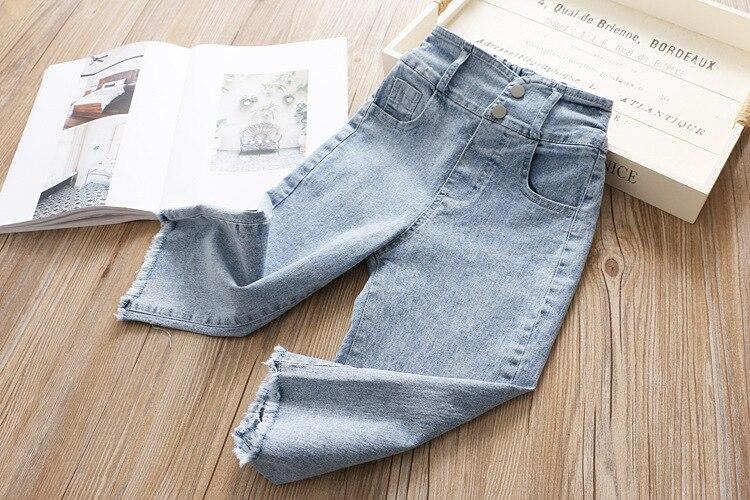 Джинсы с высокой талией для девочек; коллекция года; сезон весна; детские брюки