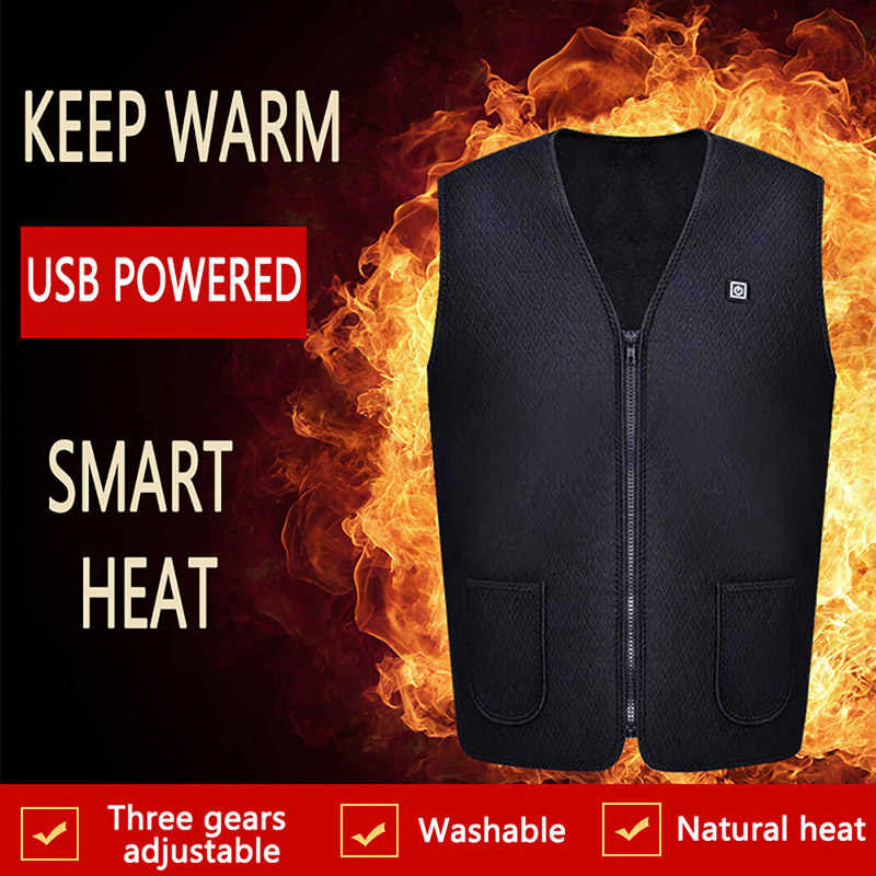 Unisex Heating Fashion Casual Sleeveless Vest Smart Men And Women Usb Electric Warm Vest